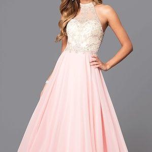 High-Neck Illusion Sweetheart Chiffon Prom Dress